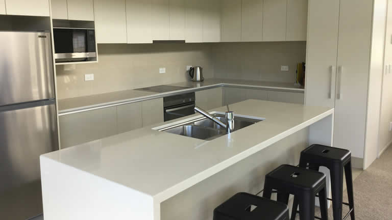 Self-catering kitchen at Riverside Apartment, Taupo NZ