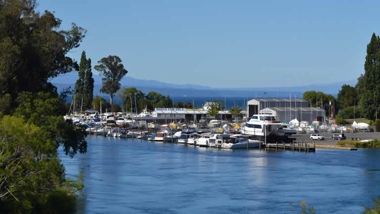 Taupo marina from Riverside Apartment balcony