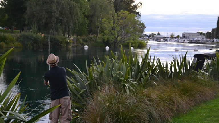 Trout fishing from holiday accommodation in Taupo