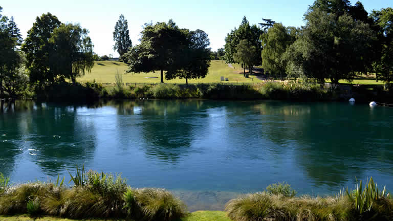 Taupo Domain from Riverside Apartment One dining and living area over the Waikato river